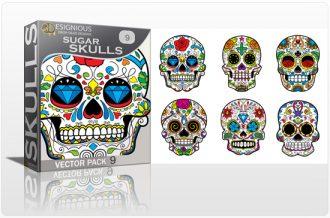 Sugar Skulls Vector Pack 9 Skulls halloween