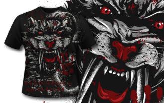 T-shirt Design 403 – Saber Cat T-shirt Designs and Templates vector