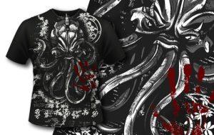 T-shirt Design 406 – Cthulhu T-shirt designs and templates vector
