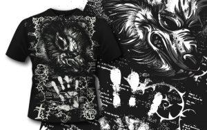T-shirt Design 408 – Werewolf T-shirt designs and templates vector