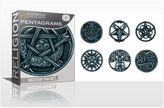 Pentagrams Vector Pack 1 Religion [tag]