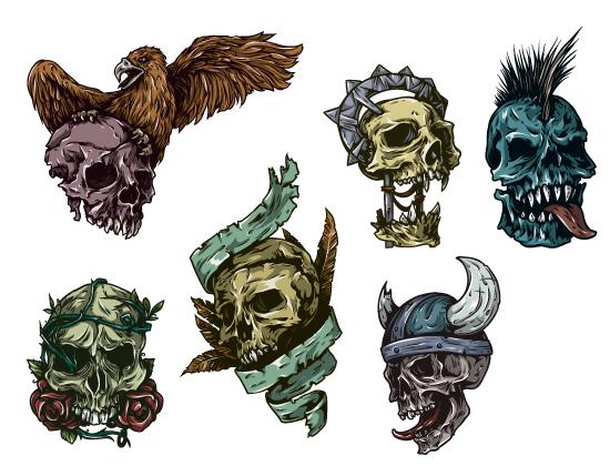 Skulls Vector Pack 24 Skulls [tag]