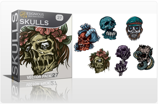 Skulls Vector Pack 27 Skulls [tag]