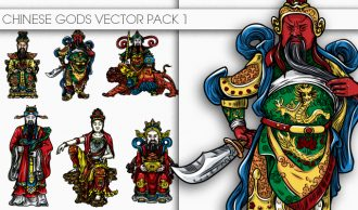 Chinese Gods Vector Pack 1 Oriental Art [tag]