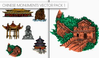 Chinese Monuments Vector Pack 1 Oriental Art [tag]