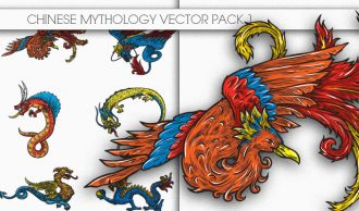 Chinese Mythology Vector Pack 1 Oriental Art [tag]