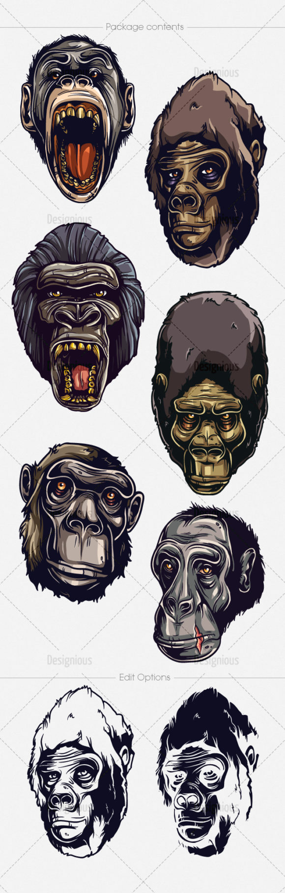 Apes Vector Pack 1 products designious vector apes 1 large