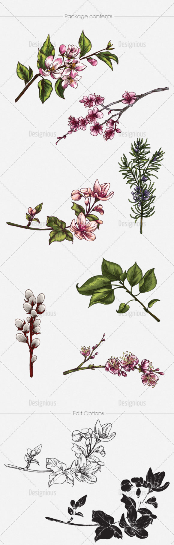 Blossomed Branches Vector Pack 1 products designious vector blossomed branches 1 large
