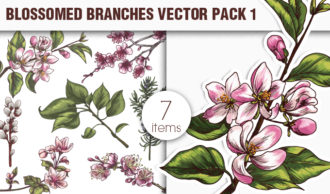 Blossomed Branches Vector Pack 1 Nature [tag]