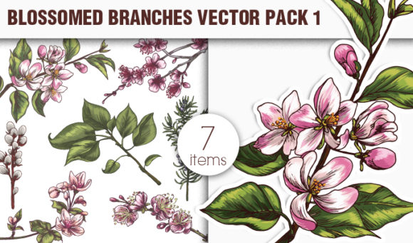 Blossomed Branches Vector Pack 1 products designious vector blossomed branches 1 small