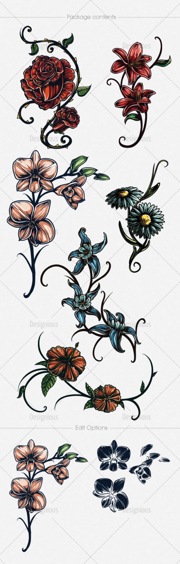 Floral Vector Pack 136 products designious vector floral 136 large