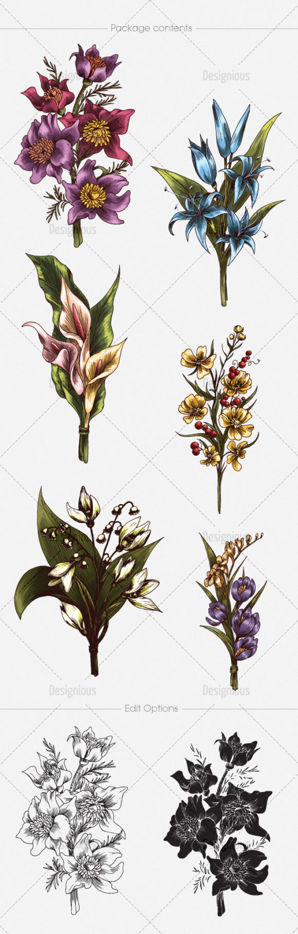 Floral Vector Pack 133 products designious vector floral bouquets 133 large