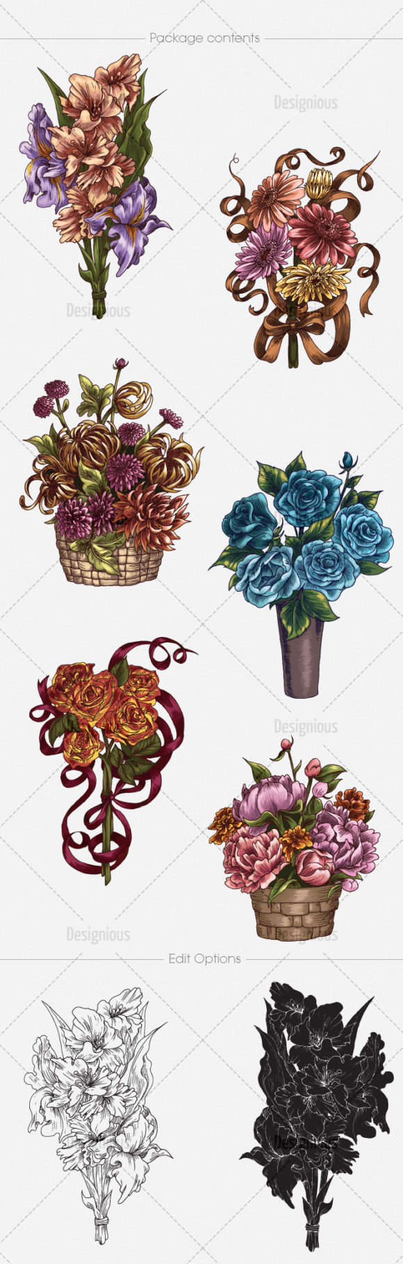 Floral Vector Pack 135 products designious vector floral bouquets 135 large