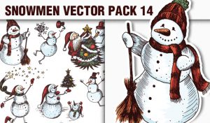 Snowmen Vector Pack 14 Holidays [tag]