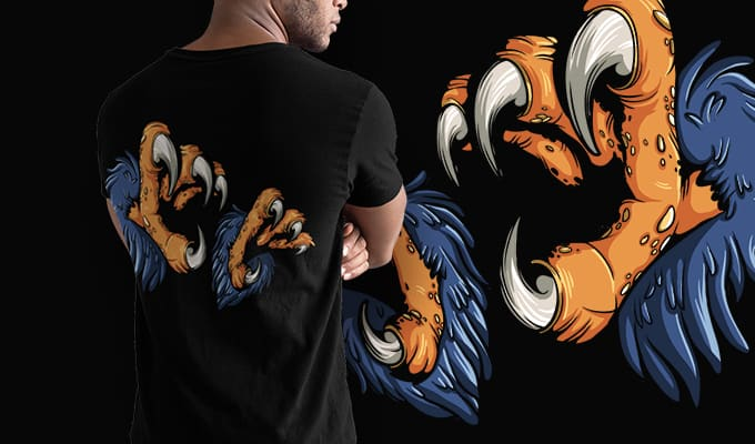 Free Eagle Claws T-Shirt Design Freebies vector