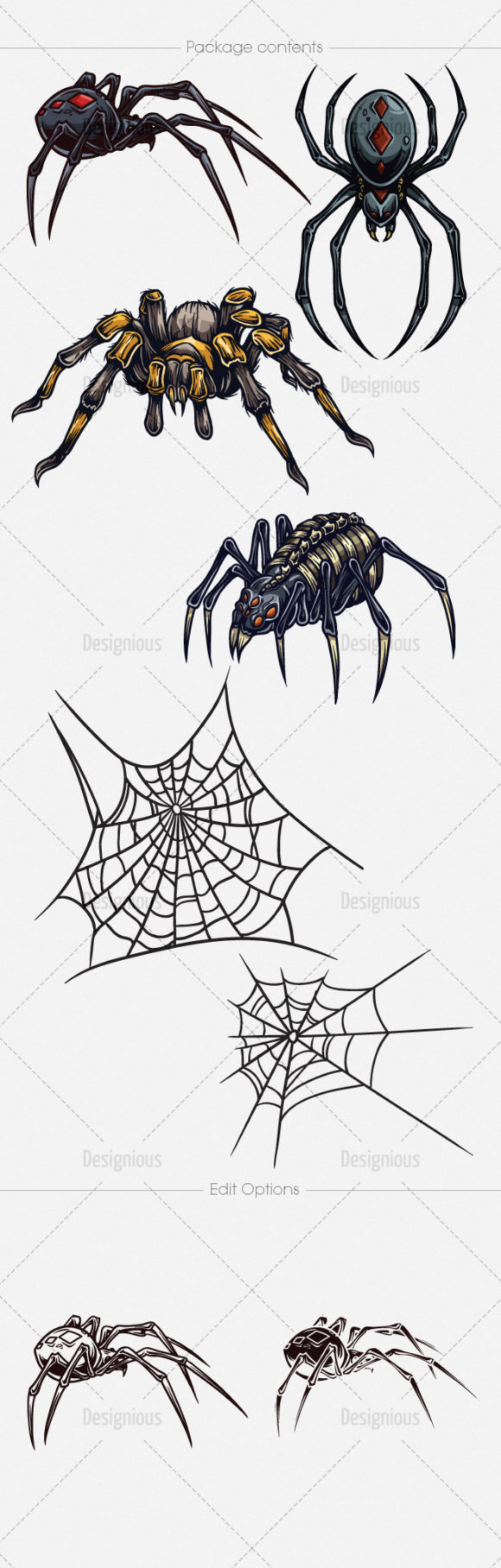Spiders Vector Pack 1 products designious vector spiders 1 large