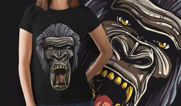 Free Gorilla T-shirt Design Freebies vector