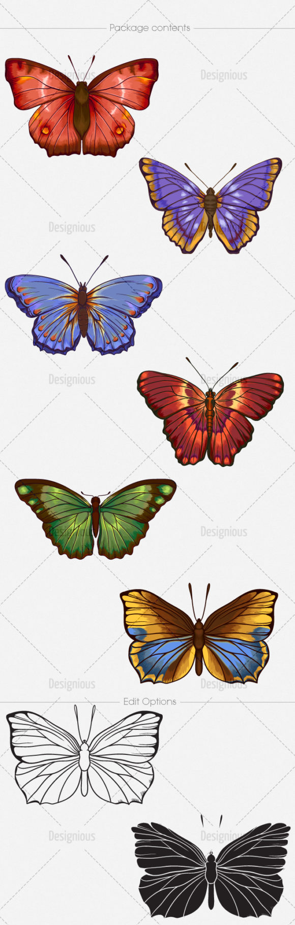 Butterflies Vector Pack 6 products designious vector butterflies 6 large