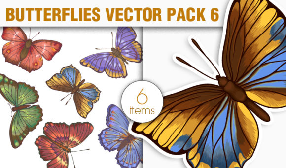Butterflies Vector Pack 6 products designious vector butterflies 6 small