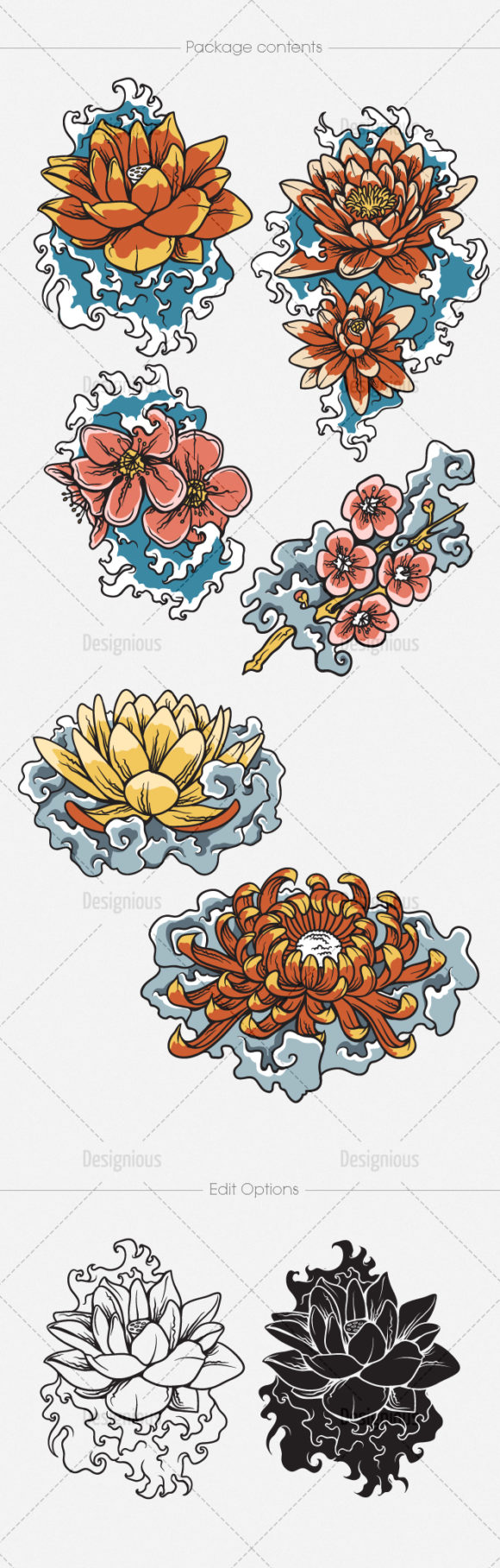 Japanese Flowers Vector Pack 2 products designious vector japanese floral 2 large