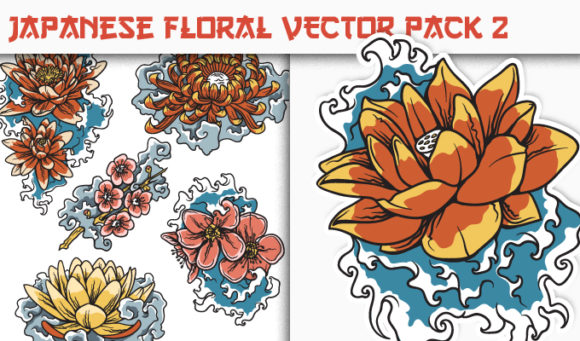 Japanese Flowers Vector Pack 2 products designious vector japanese floral 2 small