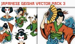 Geisha Vector Pack 3 Japanese Art [tag]