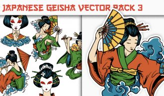 Geisha Vector Pack 3 Japanese Art [tag]