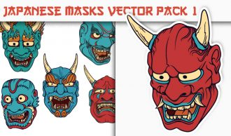 Japanese Masks Vector Pack 1 Japanese Art [tag]