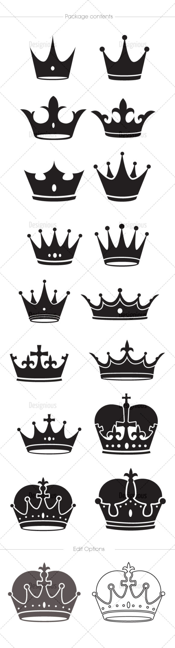 Crowns Vector Pack 5 products designious vector crowns 5 large