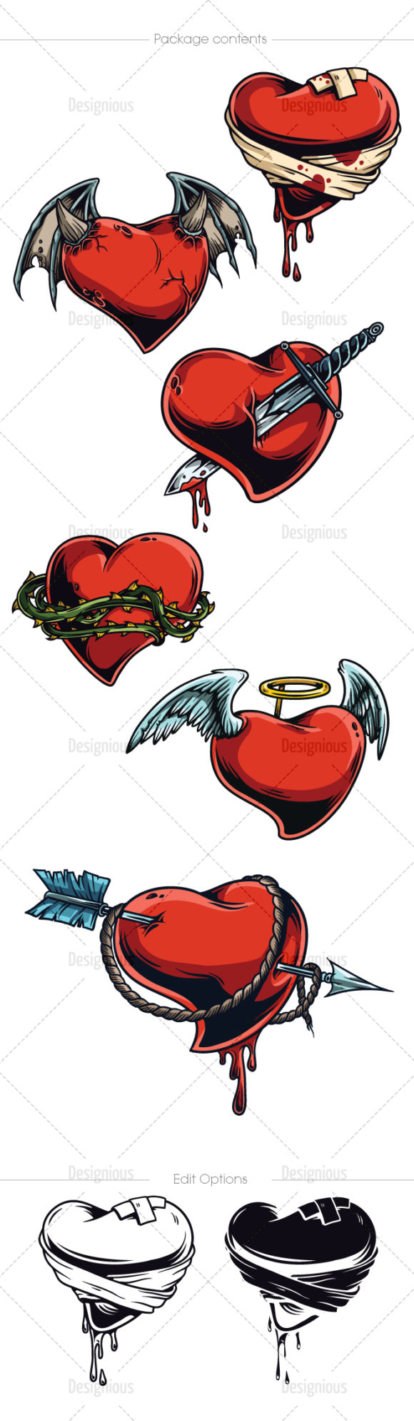 Hearts Vector Pack 6 products designious vector hearts 6 large
