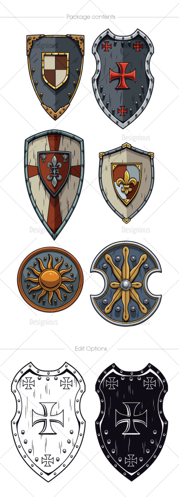 Shields Vector Pack 5 products designious vector shields 5 large