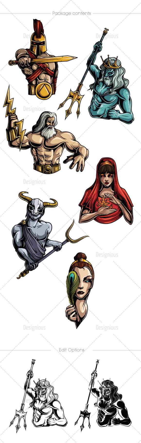 Greek Mythological Olympian Gods Vector Pack 1 6