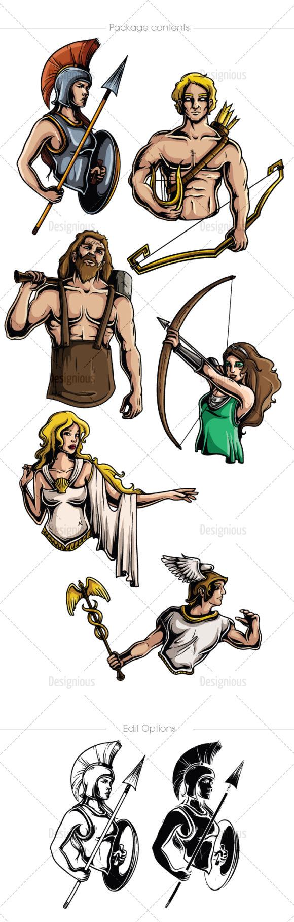 Greek Mythological Olympian Gods Vector Pack 2 6