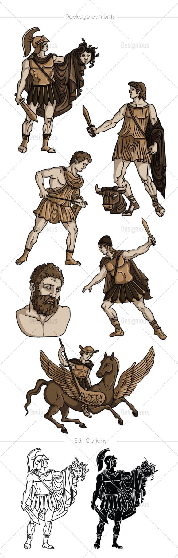 Greek Mythological Heros Vector Pack 1 6