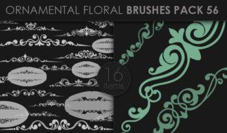 Ornamental Floral Brushes Pack 56 Floral brushes [tag]