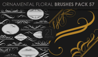 Ornamental Floral Brushes Pack 57 Floral brushes [tag]