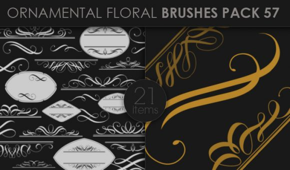 Ornamental Floral Brushes Pack 57 Floral brushes [tag]