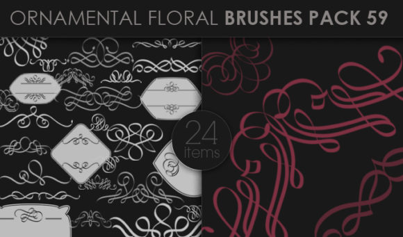 Ornamental Floral Brushes Pack 59 Floral brushes [tag]