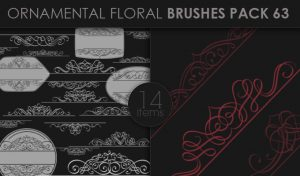Ornamental Floral Brushes Pack 63 Floral brushes [tag]