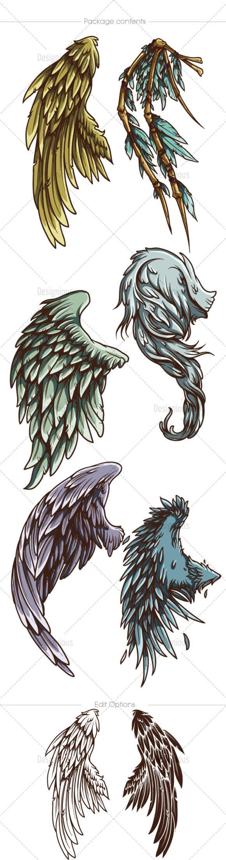 Wings Vector Pack 24 Wings [tag]