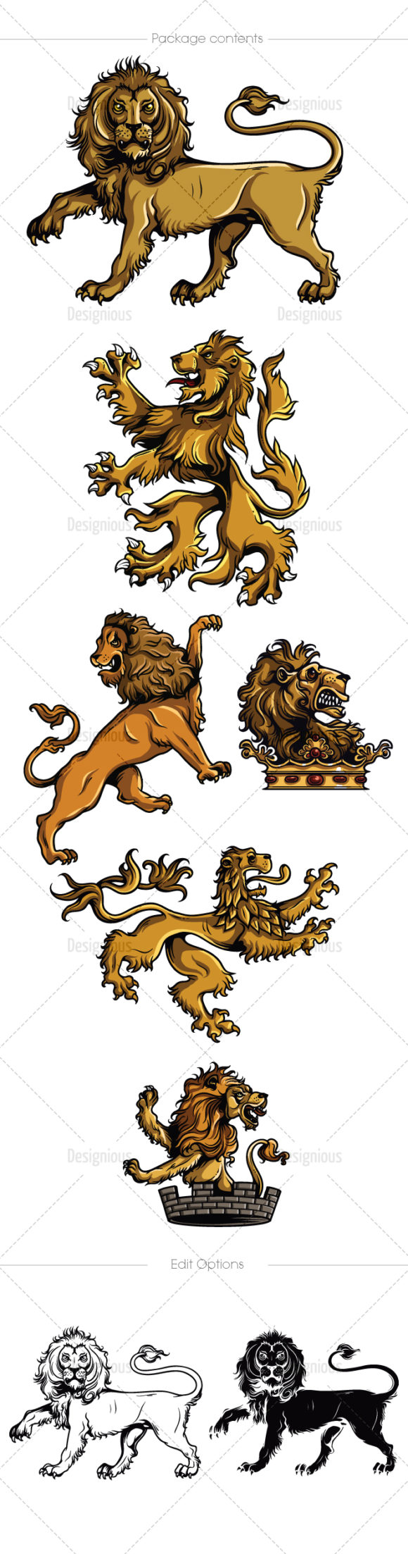 Gothic Lions Vector Pack 1 products designious vector gothic lions 1 large