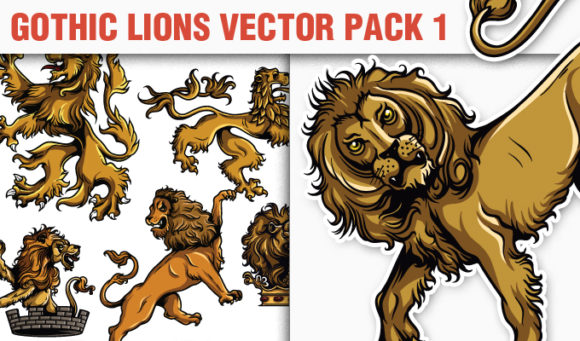 Gothic Lions Vector Pack 1 products designious vector gothic lions 1 small