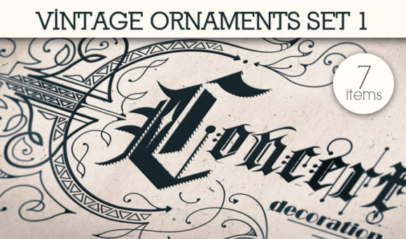 Vintage Ornaments Vector Pack 1 Floral [tag]