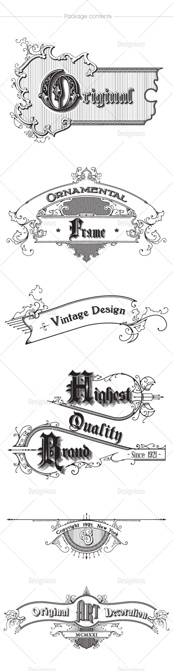 Vintage Ornaments Vector Pack 6 products designious vintage ornaments 6 large
