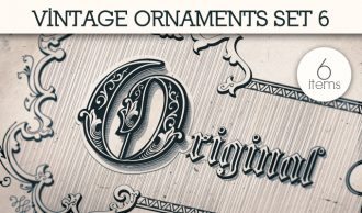 Vintage Ornaments Vector Pack 6 Floral [tag]