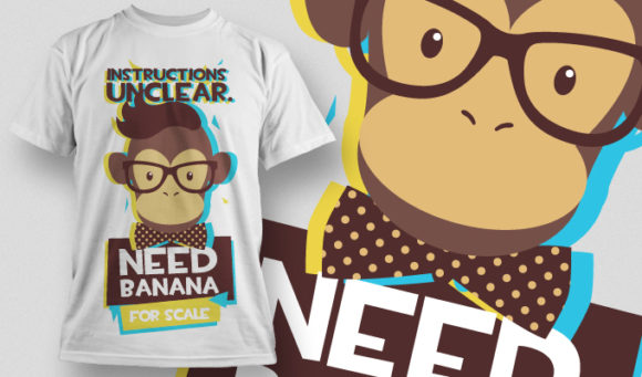 Free Monkey Needs Banana T-shirt Design 880 products designious vector tshirt 880