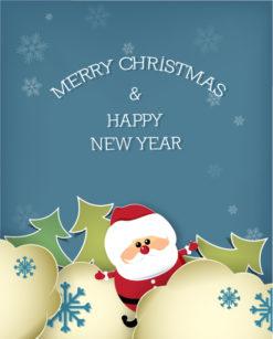Christmas Vector Illustration With Santa Sticker And Christmas Tree Freebies tree