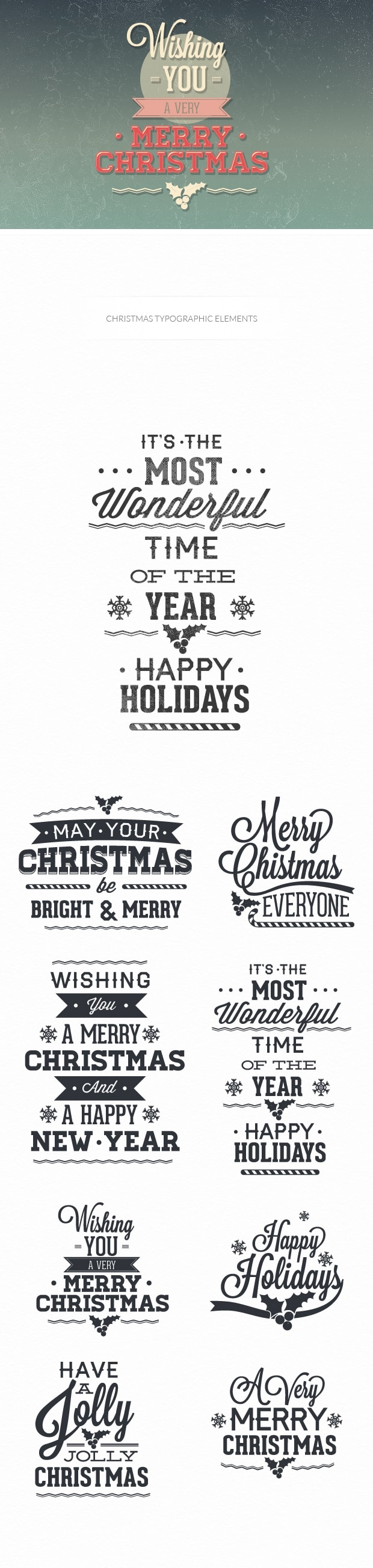 Christmas day typographic elements TypeZilla christmas preview