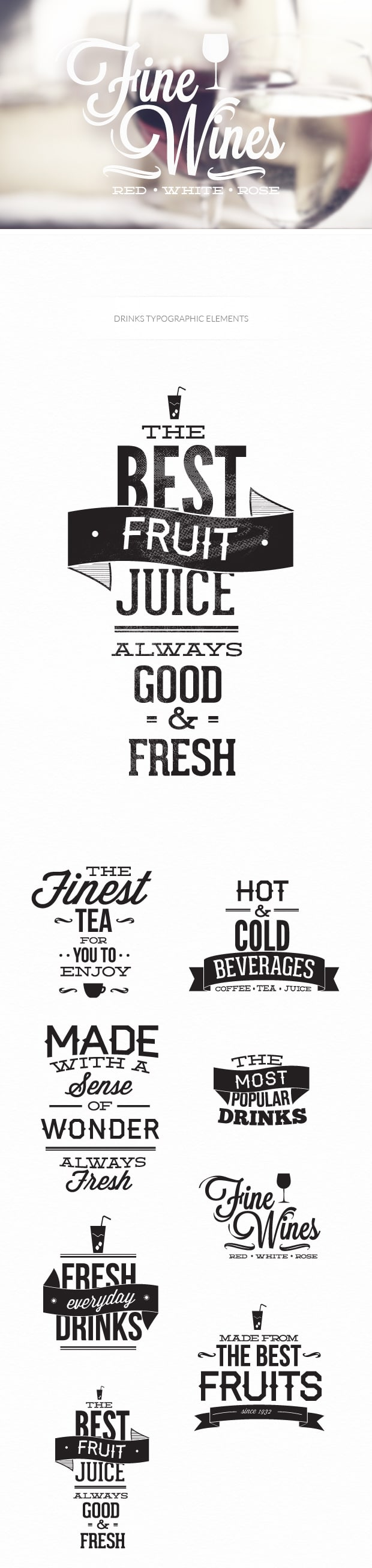 Drinks typographic elements TypeZilla drinks preview