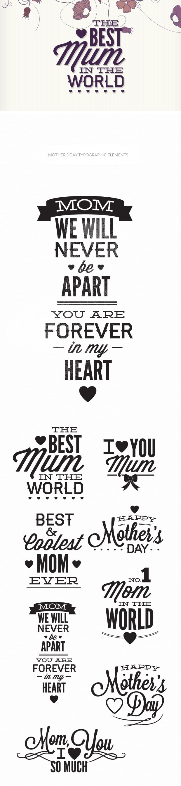 Mother's day typographic elements TypeZilla motherday preview